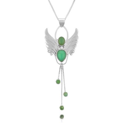 chrysoprase angel pendant necklace silver