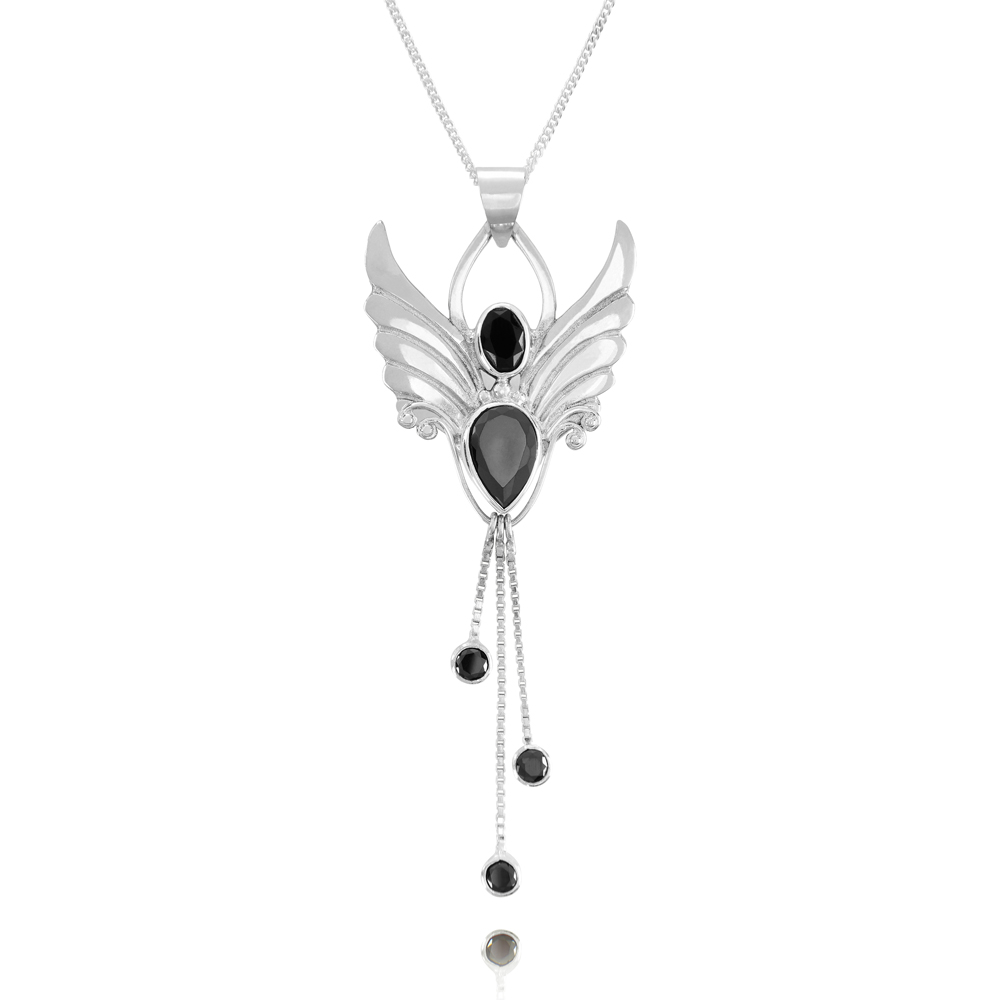 Angel of Focus Motivation Silver and Onyx pendant