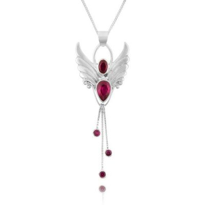 Ruby Angel Necklace Angel of Vitality. Silver Angel Necklace