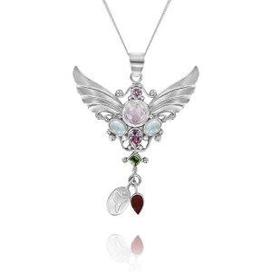silver angel fertility pendant rose quartz