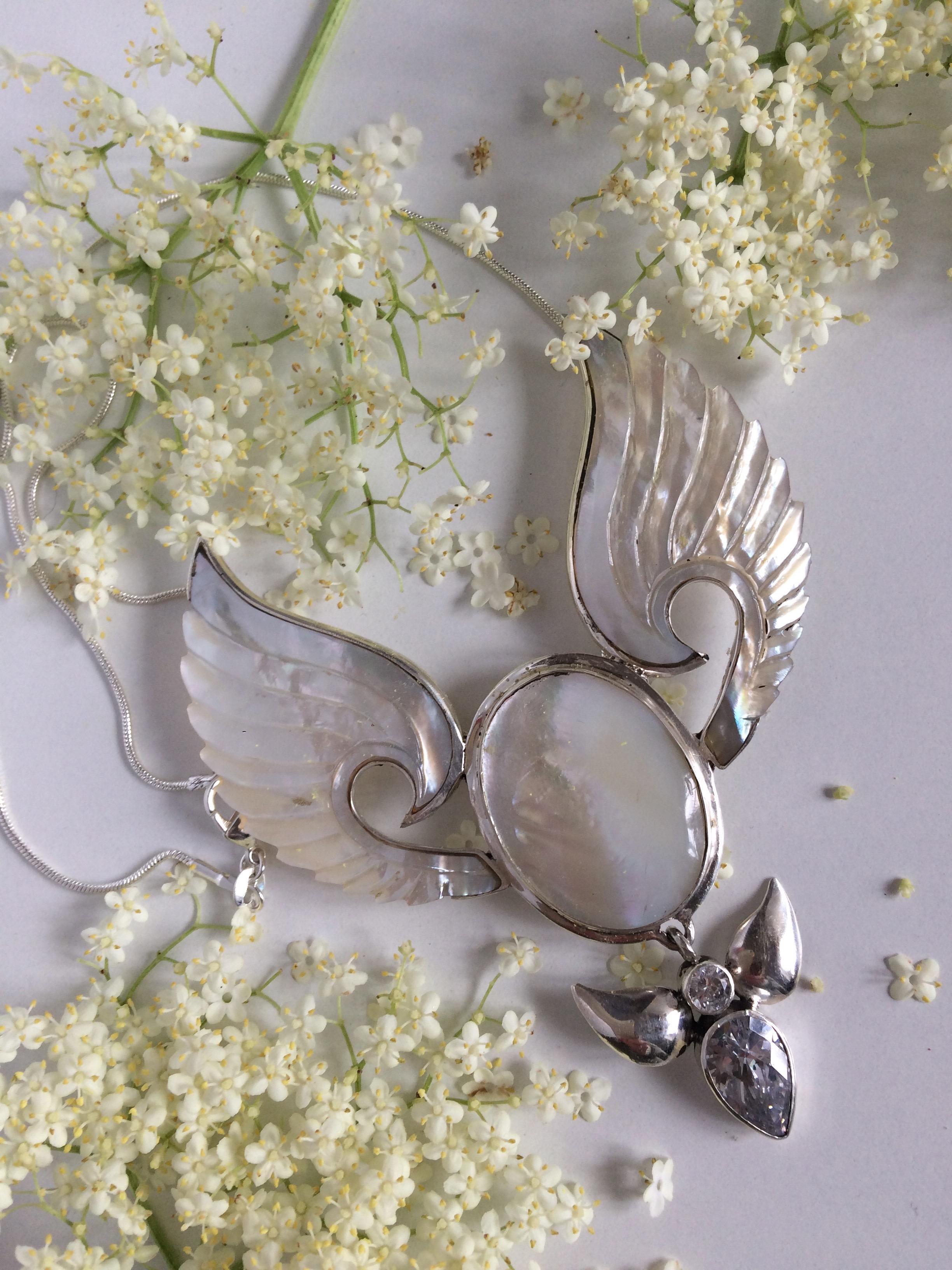 divine feminine angel necklace white goddess