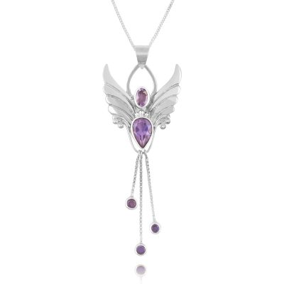 amethyst angel pendant necklace for protection