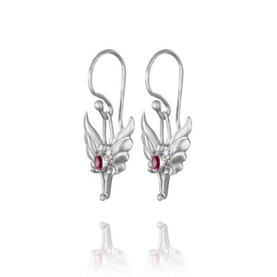 Baby Angel Silver Angel Wings Earrings