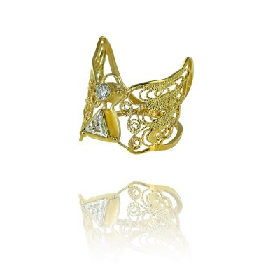 angel ring 22ct gold filigree