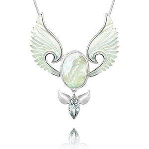 mother of pearl and silver angel pendant