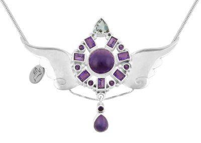 Archangel Zadkiel Silver Amethyst Angel Pendant