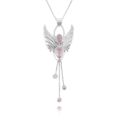 Rose Quartz angel Pendant Rose Quartz January
