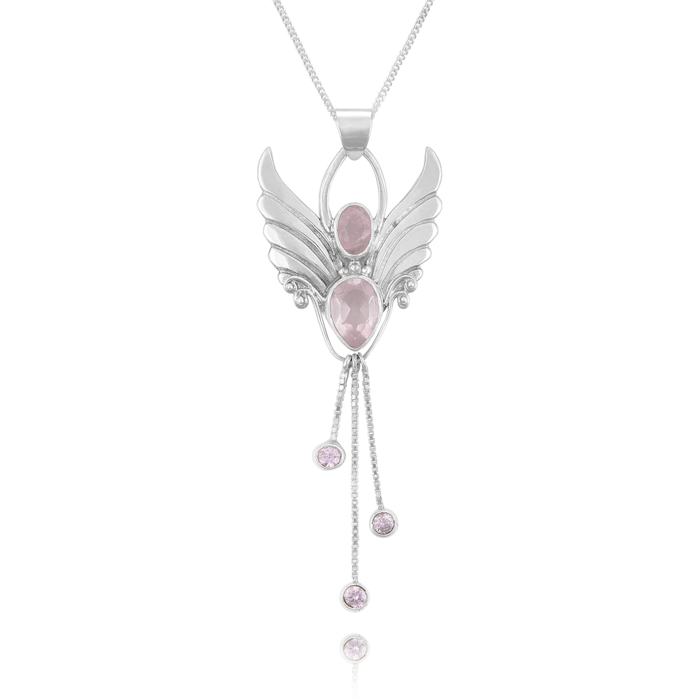silver necklace christmas angel jewelry bling v guardian pendant sterling cz