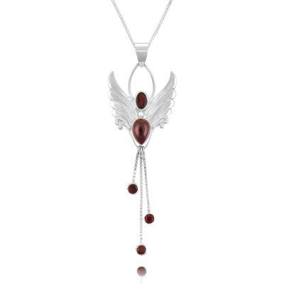 Silver garnet Angel Necklace - Garnet