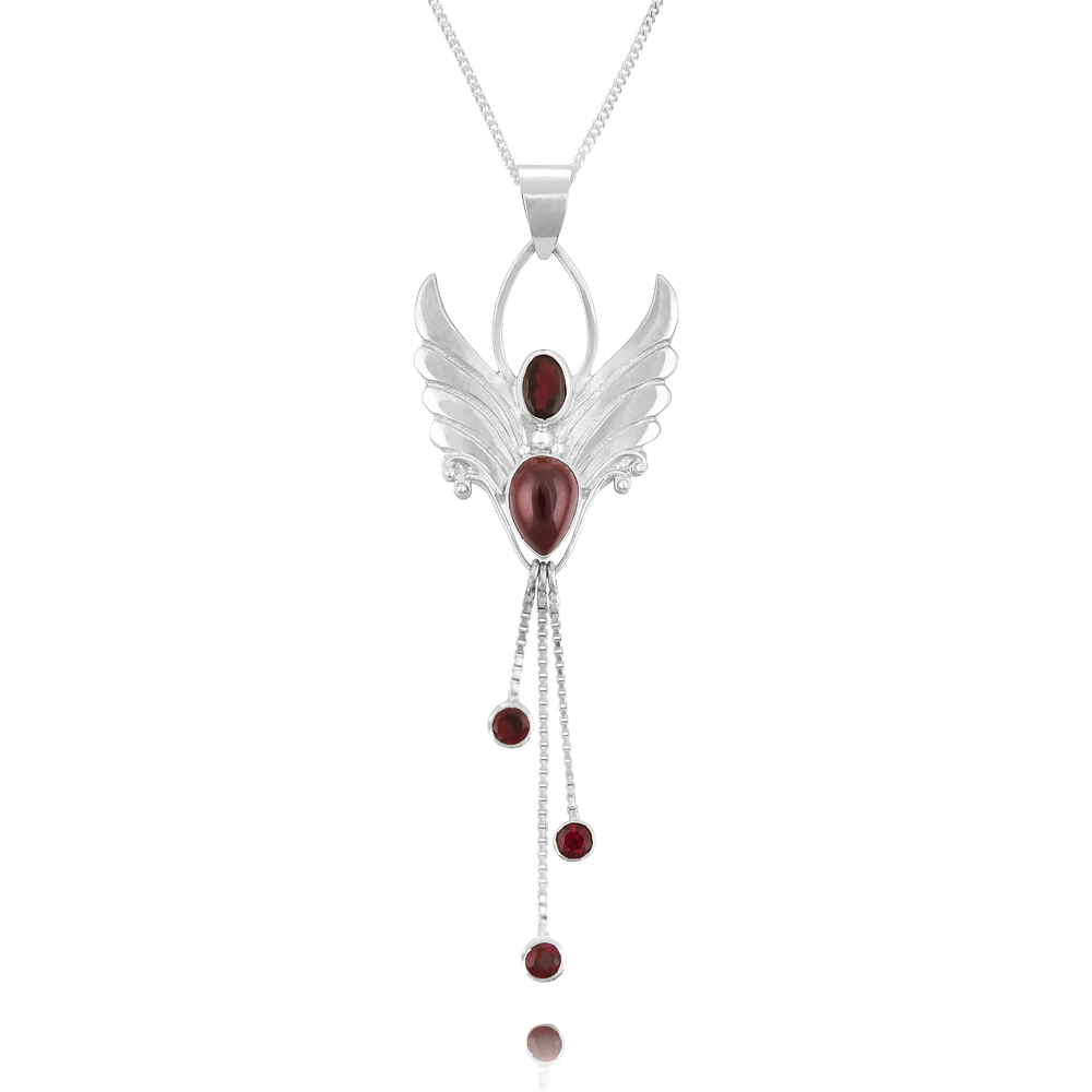 Silver garnet Angel Necklace - Garnet