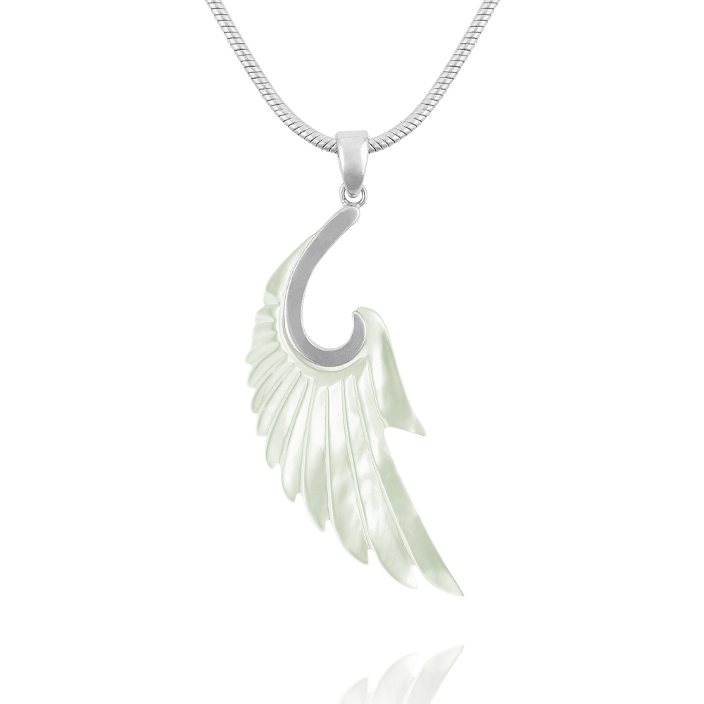 one travel silver necklace wing plated charm dogeared angel guardian charms and