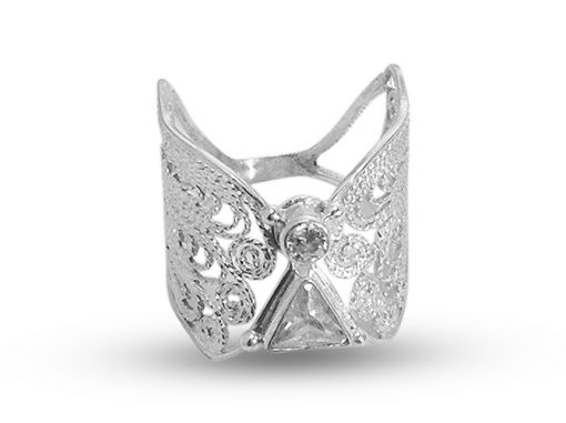 handmade angel ring in silver filigree