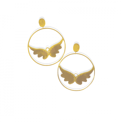 Angel wing hoops earrings gold vermeil on 925 silver