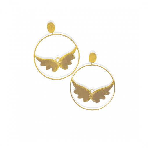 Angel wing hoops earrings gold vermeil on 925 silver