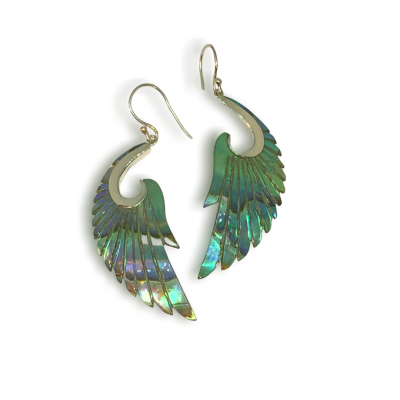 guardian angel abalone wing silver earrings