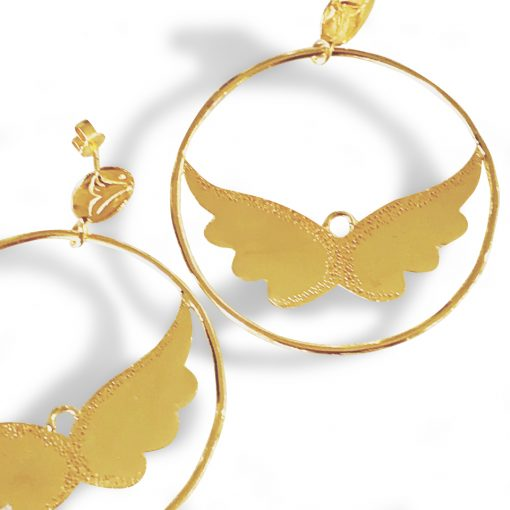Hoops Angel Wings Earrings in Gold