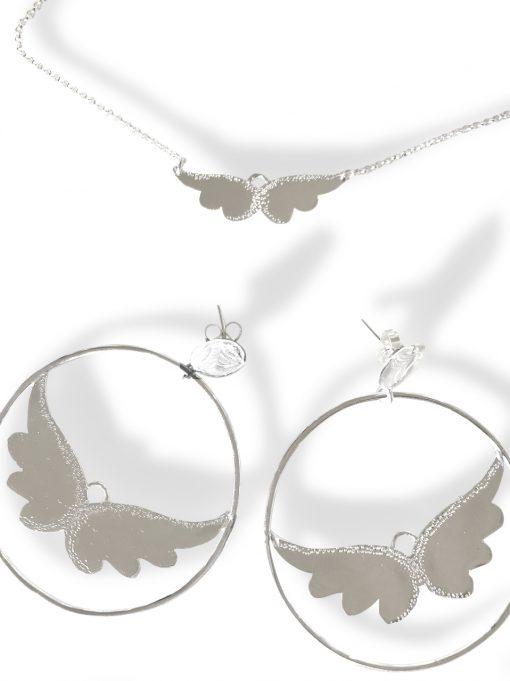 silver hoops earrings with angel wings