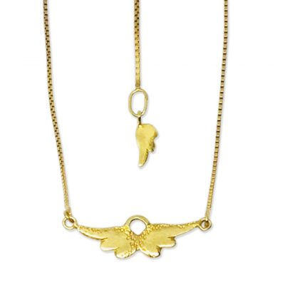 Tiny gold angel wings necklace