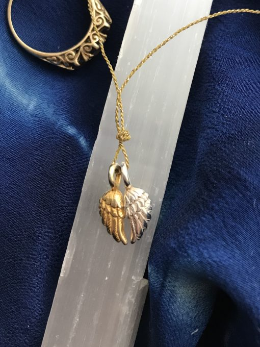 Tiny Angel Wing Pendant Necklace in Gold Vermeil & Silver