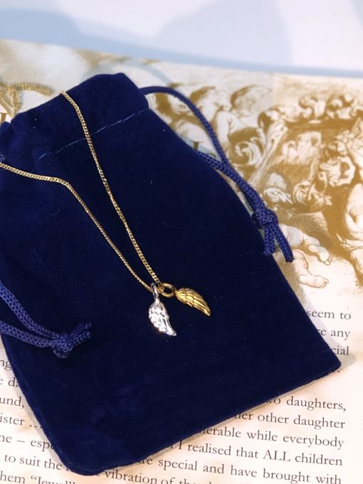 Tiny Angel wings pendant necklace gold and silver