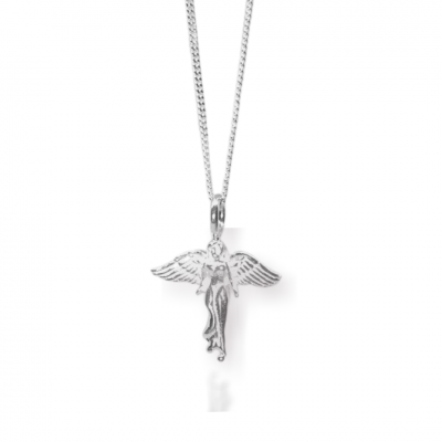 Silver Guardian Angel Pendant Charm Necklace