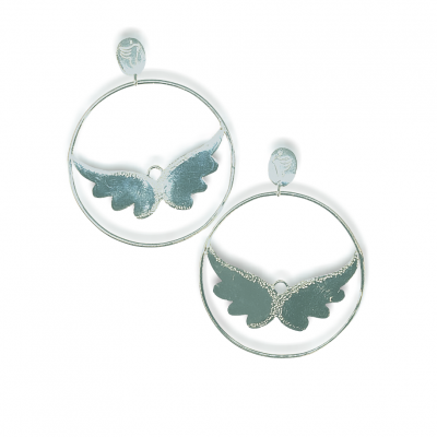 angel wing hoops earrings silver