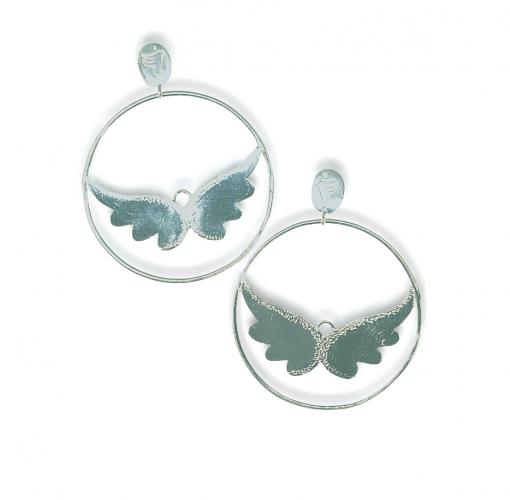 angel wing hoops earrings silver