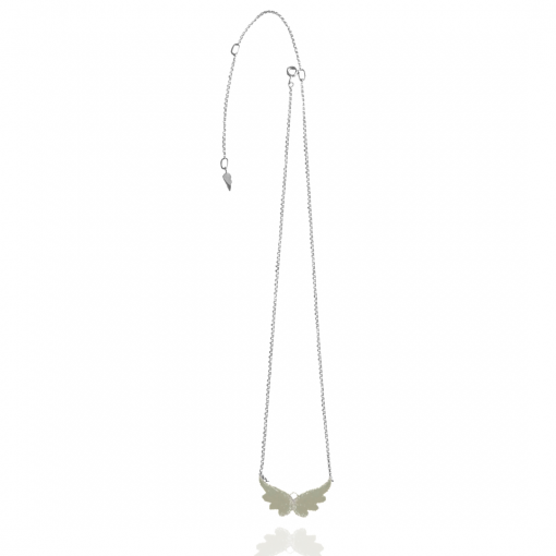 silver angel wing choker necklace